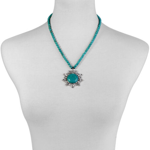 Dyed Blue Magnesite Necklace (Size 20) in Silver Tone 90.000 Ct.