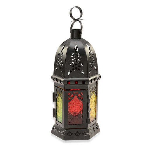 Cut Work Pattern Lantern with Multi Colour Glass (Size 14x21 Cm)