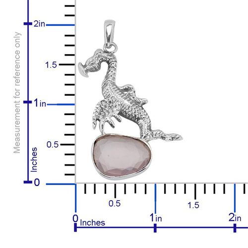 Creature Couture - Jewels of India Dinosaur Pendant with Pink Quartz in Sterling Silver 6.290 Ct.