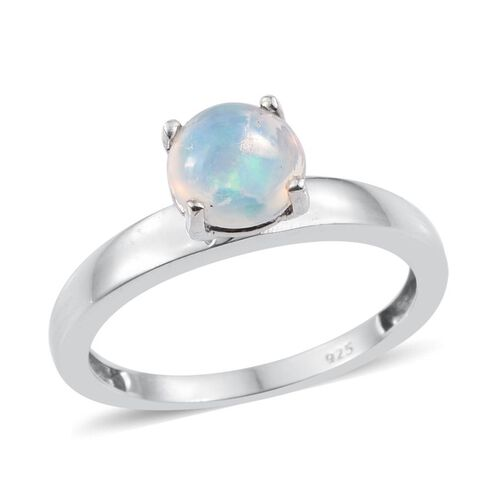 Ethiopian Welo Opal (Rnd) Solitaire Ring in Platinum Overlay Sterling Silver 1.000 Ct.