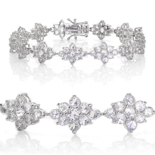 Espirito Santo Aquamarine (Rnd) Bracelet (Size 7.25) in Platinum Overlay Sterling Silver 10.000 Ct.