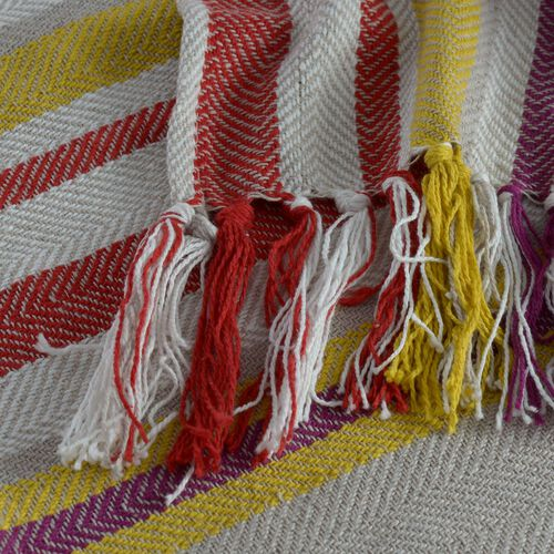 100% Cotton Purple, Grey, Yellow and Multi Colour Stripe Pattern Throw with Fringes at the Bottom (Size 160x120 Cm)