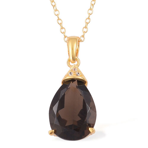 Brazilian Smoky Quartz (Pear 4.50 Ct), White Zircon Pendant With Chain in 14K Gold Overlay Sterling Silver 4.530 Ct.