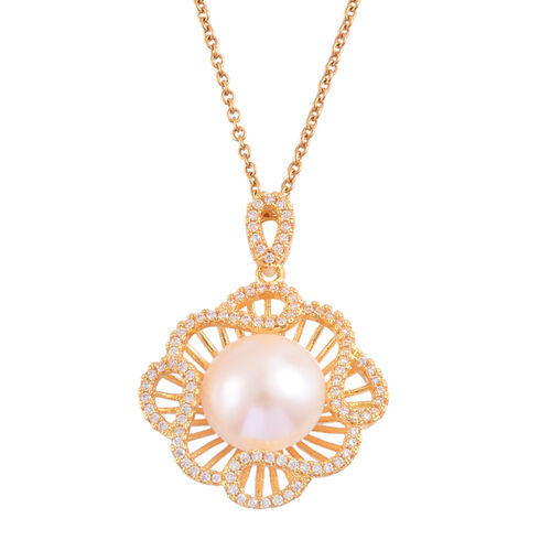(Option  2) Fresh Water White Pearl and Simulated White Diamond Pendant With Chain (Size 18) in Gold Tone With Stainless Steel