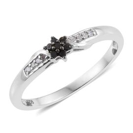 Black Diamond (Rnd), White Diamond Floral Ring in Platinum Overlay Sterling Silver 0.100 Ct.