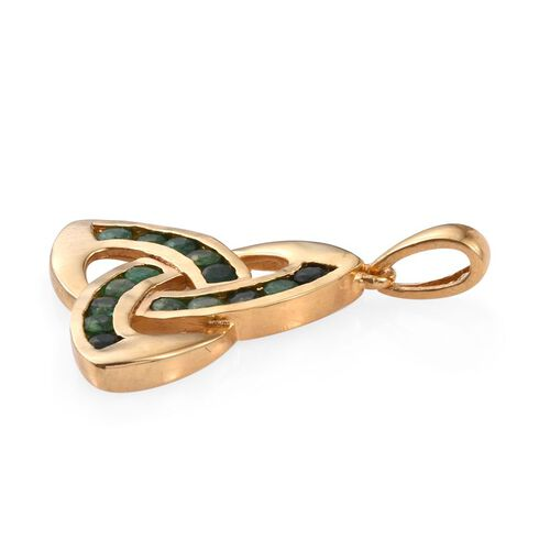 Brazilian Emerald (Rnd) Knot Pendant in 14K Gold Overlay Sterling Silver 1.250 Ct.