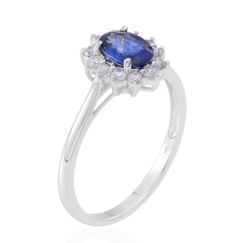 9K White Gold 1.50 Carat AA Ceylon Blue Sapphire And Natural Cambodian Zircon Halo Ring