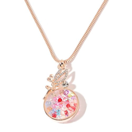 Multi Colour Crystal and White Austrian Crystal Pendant With Chain in Rose Gold Tone