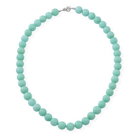 Very Rare Size Russian Amazonite Necklace (Size 18) in Rhodium Plated Sterling Silver 330.000 Ct.