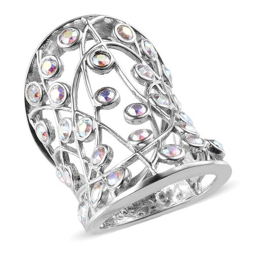 Crystal from Swarovski - AB Crystal (Rnd) Ring in Platinum Overlay Sterling Silver