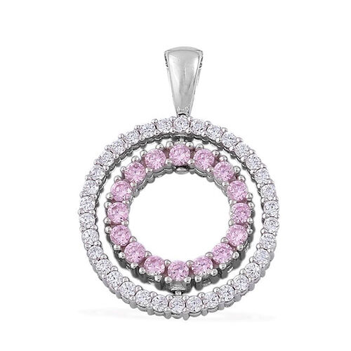 AAA Simulated Pink Sapphire and Simulated White Diamond Pendant in Rhodium Plated Sterling Silver