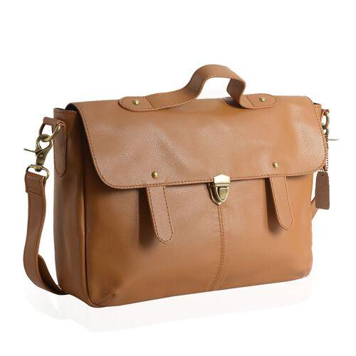 Genuine Leather Tan Colour Satchel Bag with Removable Shoulder Strap (Size 35 X 25 X 8 CM)