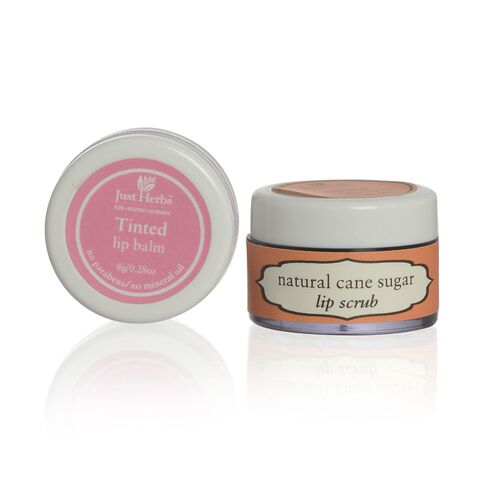 EXCLUSIVE TO TJC  - Set of 2 - Just Herbs Tinted Lip Balm (8g) and Cane Sugar Lip Scrub (15g)