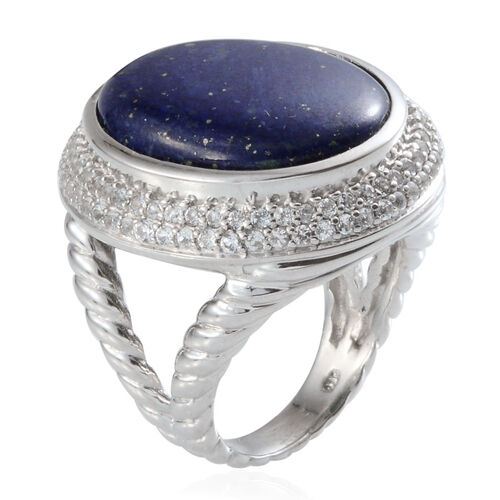 Lapis Lazuli (Ovl 26.00 Ct), White Topaz Ring in Platinum Overlay Sterling Silver 28.500 Ct.