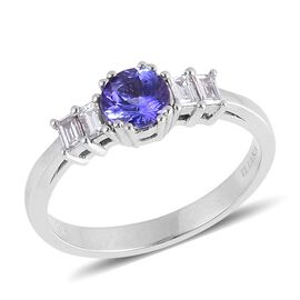 ILIANA 18K W Gold AAA Tanzanite (Rnd 0.75 Ct), Diamond Ring 1.000 Ct.
