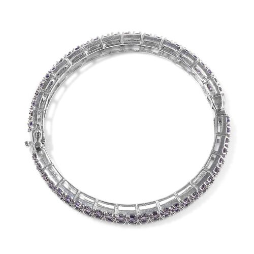 Purple Austrian Crystal Bangle (Size 7.5) in Silver Tone