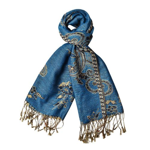 Gold and Multi Colour Bandanna Pattern Blue Colour Scarf with Tassels (Size 170x70 Cm)