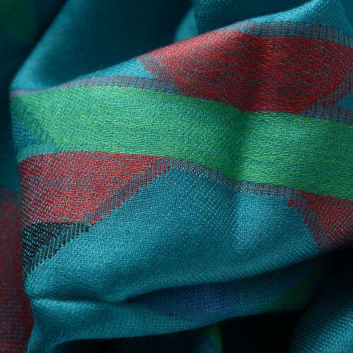 100% Modal Multi Colour Chevron Pattern Green Colour Jacquard Scarf (Size 190x70 Cm)