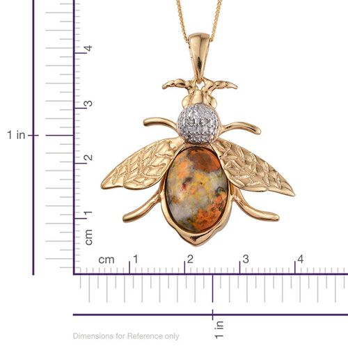Bumble Bee Jasper (Ovl), Diamond Pendant With Chain in 14K Gold Overlay Sterling Silver 5.510 Ct.