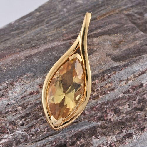 (Option 4) Citrine (Mrq) Solitaire Pendant in 14K Gold Overlay Sterling Silver 3.000 Ct.