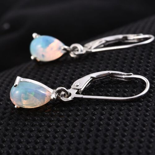 Ethiopian Welo Opal (Pear) Lever Back Earrings in Platinum Overlay Sterling Silver 1.000 Ct.