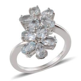Espirito Santo Aquamarine (Ovl), White Topaz Twin Floral Ring in Platinum Overlay Sterling Silver 2.250 Ct.