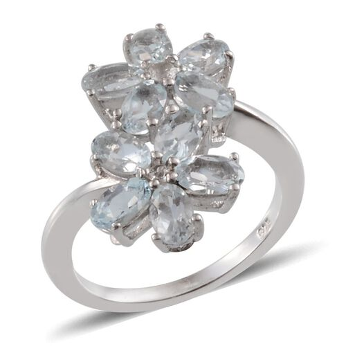 Espirito Santo Aquamarine (Ovl), White Topaz Twin Floral Ring in Platinum Overlay Sterling Silver 2.250 Ct.