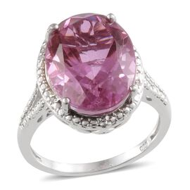 Kunzite Colour Quartz (Ovl 10.25 Ct), Diamond Ring in Platinum Overlay Sterling Silver 10.300 Ct.