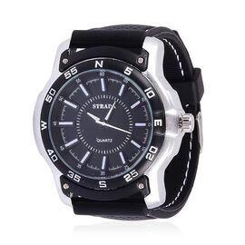 STRADA Japanese Movement Black and White Dial Water Resistant Watch in Silver Tone with Stainless Back and Black Silicone Strap