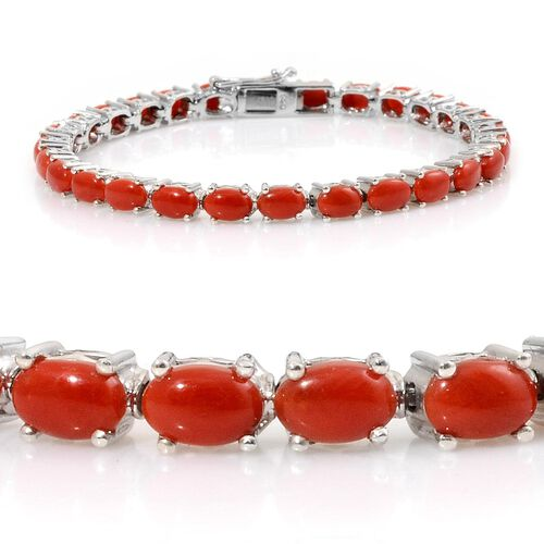 Natural Mediterranean Coral (Ovl) Tennis Bracelet in Platinum Overlay Sterling Silver (Size 7) 11.000 Ct.