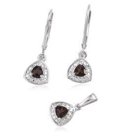 Brazilian Smoky Quartz 0.50 Carat Trillion Pendant and Earrings Silver Set in Platinum Overlay with Diamonds