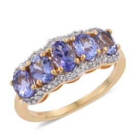 Tanzanite (Ovl 0.50 Ct), Natural Cambodian Zircon Ring in 14K Gold Overlay Sterling Silver 2.250 Ct.