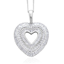 Diamond (Rnd and Bgt) Heart Pendant with Chain in Platinum Overlay Sterling Silver 1.000 Ct.