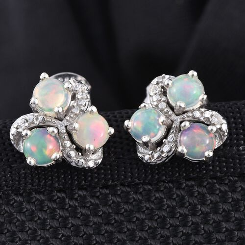 Ethiopian Welo Opal (Rnd), Natural Cambodian Zircon Stud Earrings (with Push Back) in Platinum Overlay Sterling Silver 0.850 Ct.