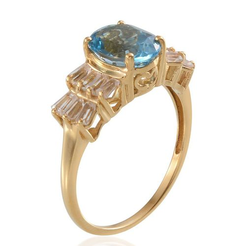 Electric Swiss Blue Topaz (Ovl 2.75 Ct), White Topaz Ring in 14K Gold Overlay Sterling Silver 3.750 Ct.