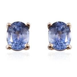 9K Yellow Gold 1 Carat AA Ceylon Blue Sapphire Oval Solitaire Stud Earrings.