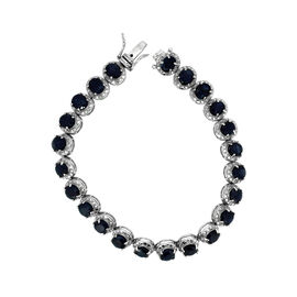Madagascar Blue Sapphire (Ovl), Diamond Bracelet (Size 7) in Rhodium Plated Sterling Silver 20.840 Ct.