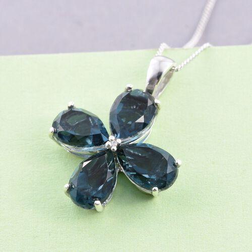 Indicolite Quartz (Pear), Diamond Floral Pendant With Chain in Platinum Overlay Sterling Silver 7.000 Ct.