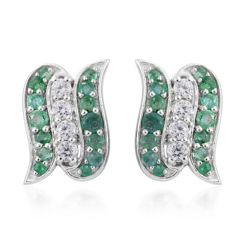 Brazilian Emerald and White Zircon Stud Earrings (with Push Back) in Sterling Silver 1.940 Ct.