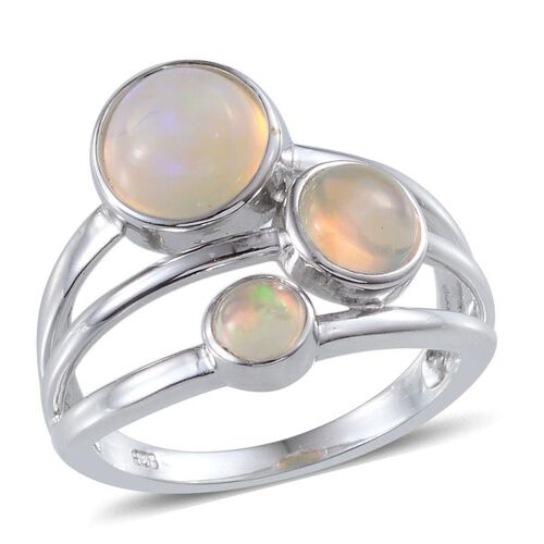 Ethiopian Welo Opal (Rnd 1.25 Ct) 3 Stone Ring in Platinum Overlay Sterling Silver 1.900 Ct.