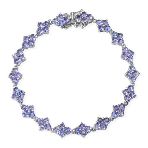 Tanzanite (Rnd) Bracelet in Platinum Overlay Sterling Silver (Size 7) 8.500 Ct.