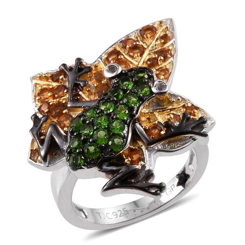GP Madeira Citrine (Rnd), Russian Diopside, Kanchanaburi Blue Sapphire and White Topaz Frog on Leaf Ring in Platinum Overlay Sterling Silver