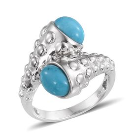 Arizona Sleeping Beauty Turquoise (Ovl) Crossover Ring in Platinum Overlay Sterling Silver 2.250 Ct.