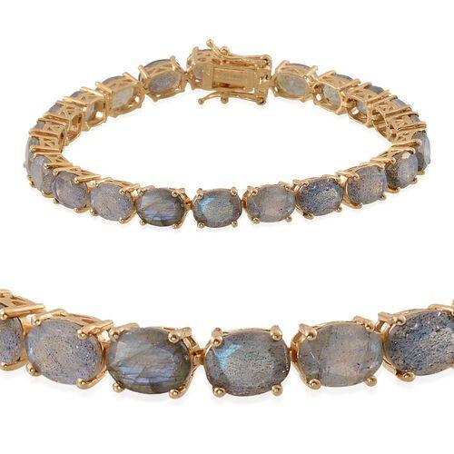 Labradorite (Ovl) Tennis Bracelet (Size 7.25) in 14K Gold Overlay Sterling Silver 28.000 Ct.