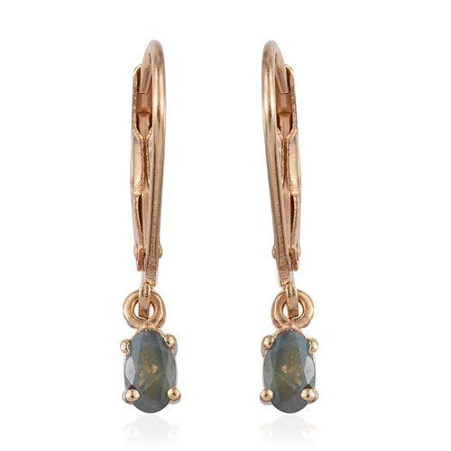 Narsipatnam Alexandrite (Ovl) Lever Back Earrings in 14K Gold Overlay Sterling Silver 0.500 Ct.
