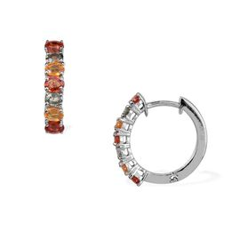 Orange Sapphire (Ovl), Green and Yellow Sapphire Hoop Earrings (with Clasp) in Platinum Overlay Sterling Silver 2.740 Ct.