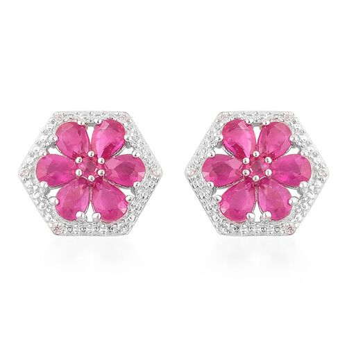 AAA Burmese Ruby (Pear), White Zircon Floral Stud Earrings (with Push Back) in Platinum Overlay Sterling Silver 2.600 Ct.