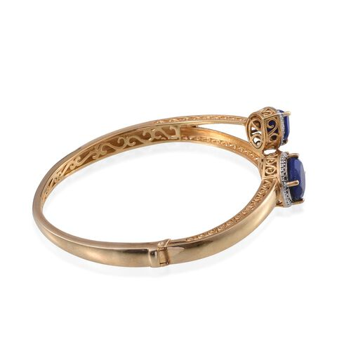 Lapis Lazuli (Ovl 5.00 Ct), Diamond Bangle (Size 7.5) in 14K Gold Overlay Sterling Silver 10.010 Ct.