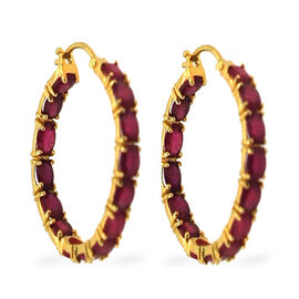African Ruby (Ovl) Hoop Earrings in 14K Gold Overlay Sterling Silver 15.000 Ct.