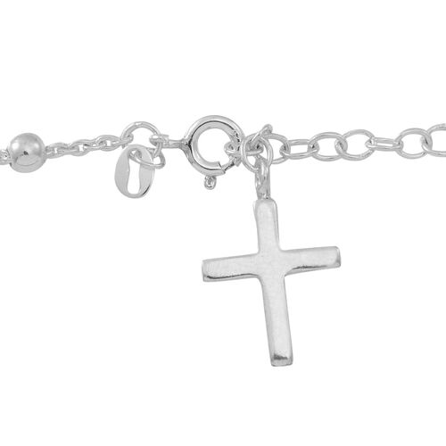 Designer Inspired Sterling Silver Cross Charm Bracelet (Size 7 with 1 inch Extender), Silver wt 4.05 Gms.